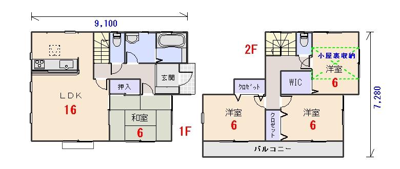 東玄関29.80坪aの間取りプランです