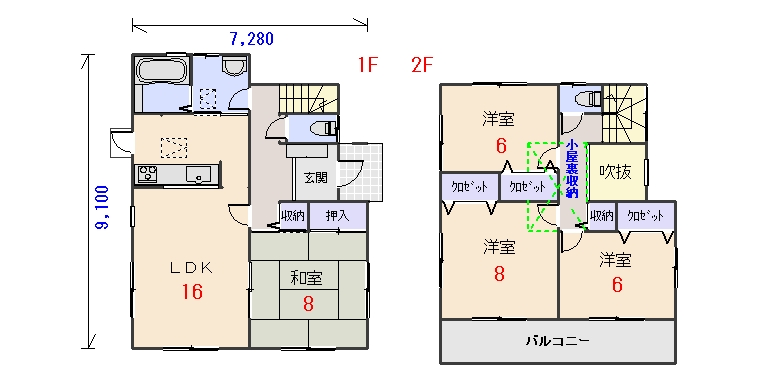 東玄関32.06坪aの間取りプランです