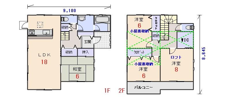 東玄関33.56坪aの間取りプランのページへ