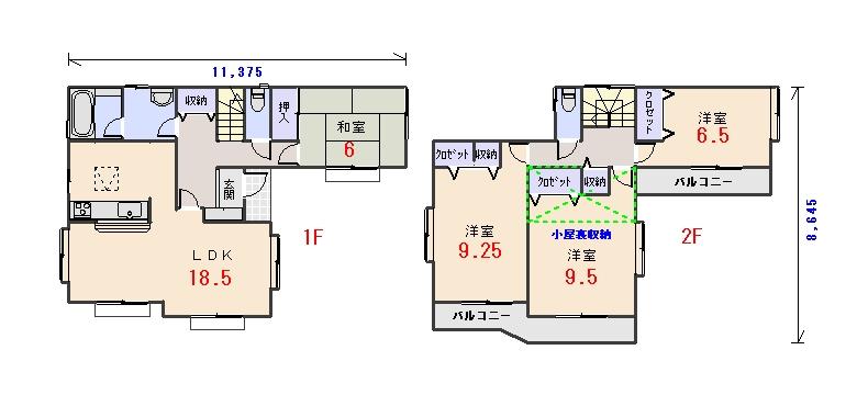 東玄関35.81坪aの間取りプランのページへ