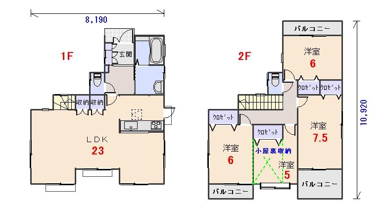北玄関33.18坪aの間取りプランです