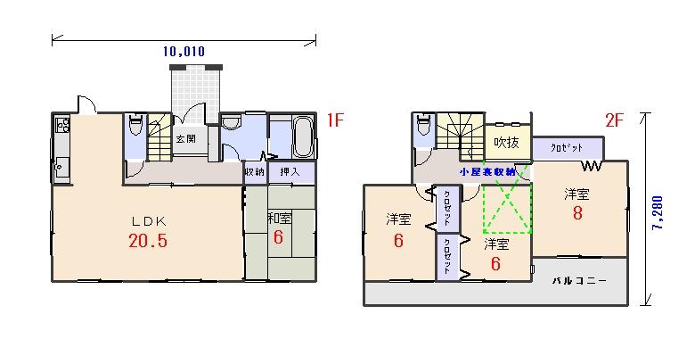 北玄関33.56坪cの間取りプランです