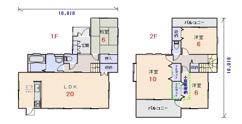 北玄関34.06坪bの間取りプランのページへ