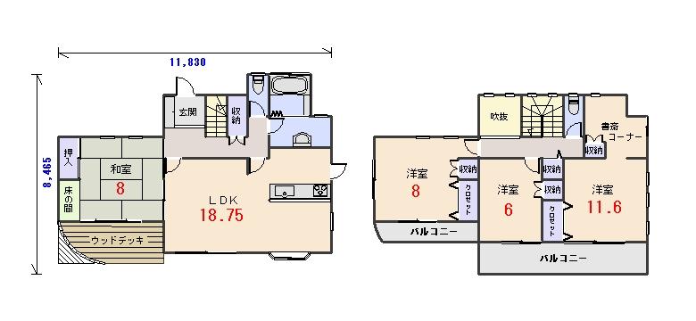 北玄関38.32坪aの間取りプランです