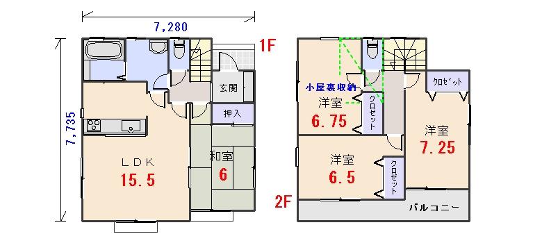 北東玄関29.80坪cの間取りプランです
