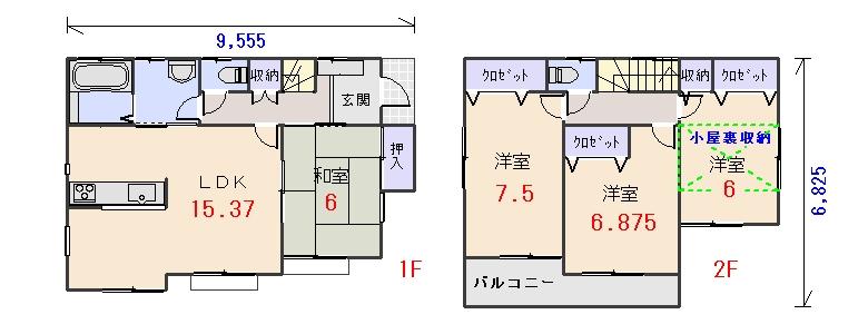 北東玄関29.93坪fの間取りプランです