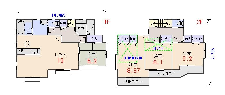 北東玄関33.18坪bの間取りプランです