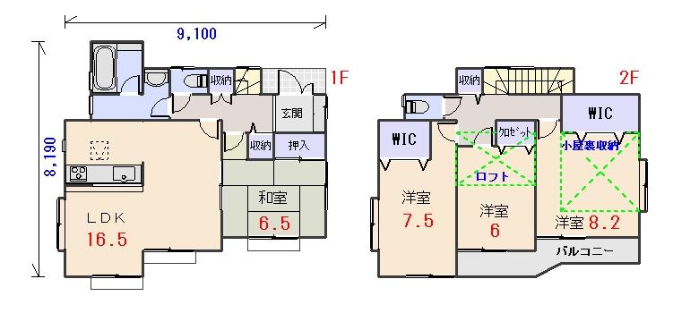 北東玄関33.31坪cの間取りプランです