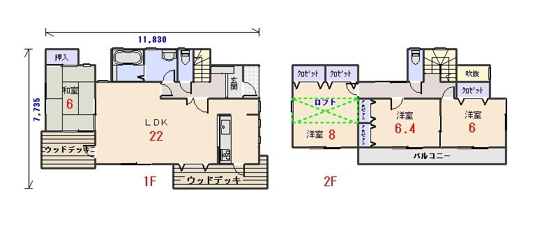 北東玄関34.56坪bの間取りプランのページへ