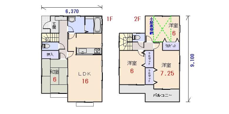 北西玄関29.17坪aの間取りプランです