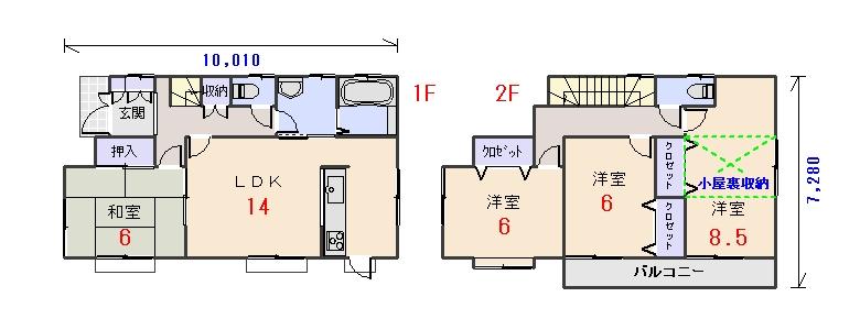 北西玄関30.18坪bの間取りプランです