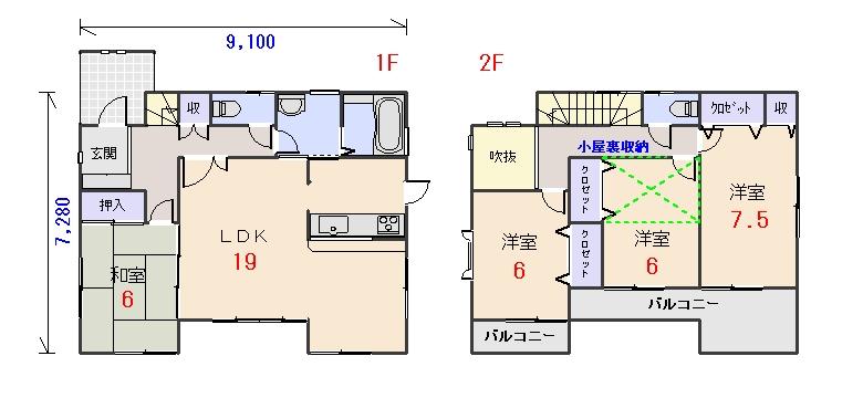 北西玄関32.81坪bの間取りプランです