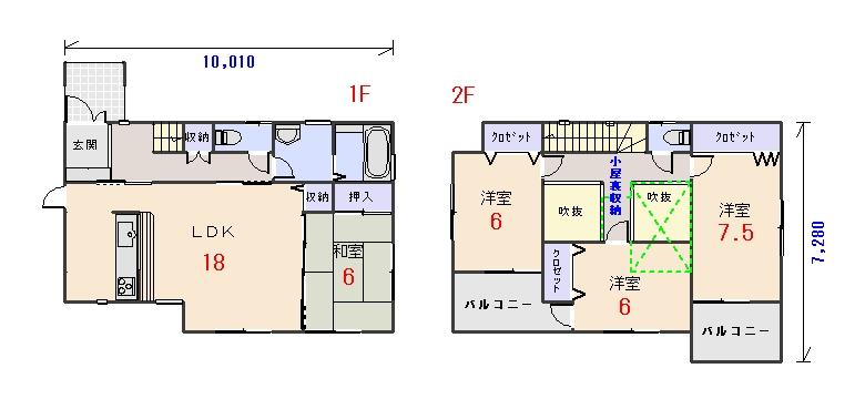 北西玄関32.81坪cの間取りプランのページへ