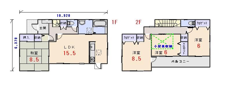 北西玄関32.93坪aの間取りプランです