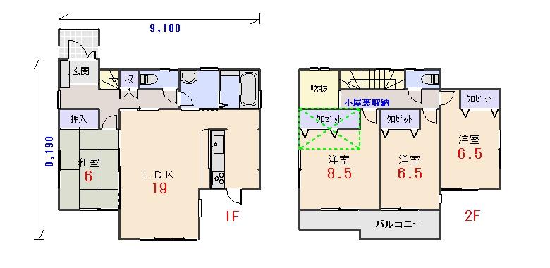 北西玄関33.56坪bの間取りプランです