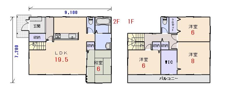 北西玄関33.81坪aの間取りプランです