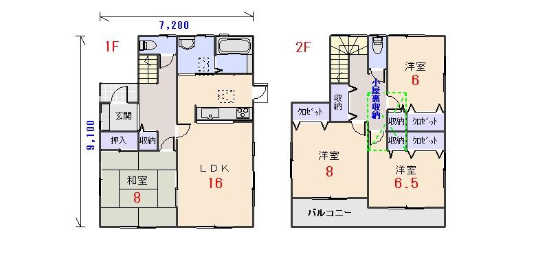 北西玄関34.06坪aの間取りプランのページへ