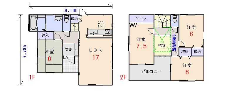 南玄関30.55坪aの間取りプランです