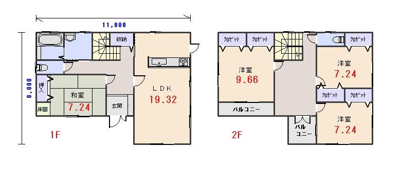 南玄関43.56坪aの間取りプランです