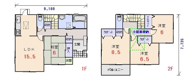 南東玄関32.56坪aの間取りプランです