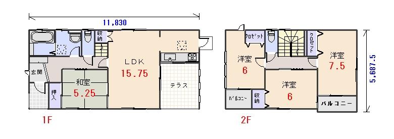 南西玄関29.68坪aの間取りプランのページへ