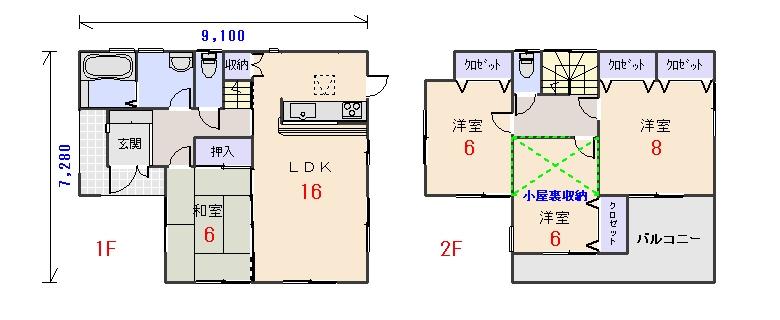 南西玄関30.80坪cの間取りプランのページへ