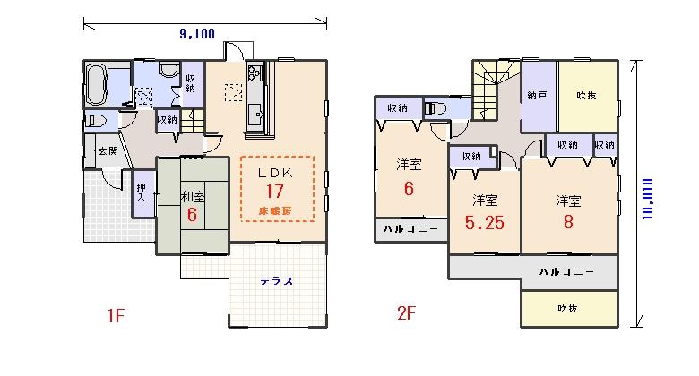 南西玄関32.93坪aの間取りプランです