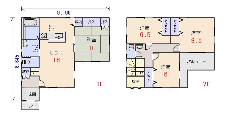 南西玄関33.06坪aの間取りプランのページへ