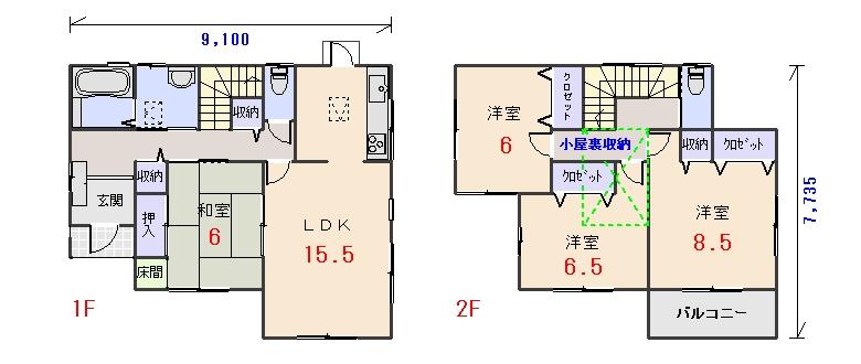南西玄関33.06坪bの間取りプランのページへ