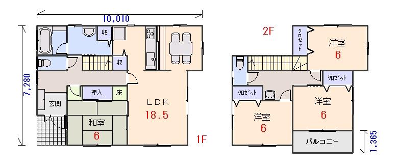 南西玄関33.56坪aの間取りプランのページへ