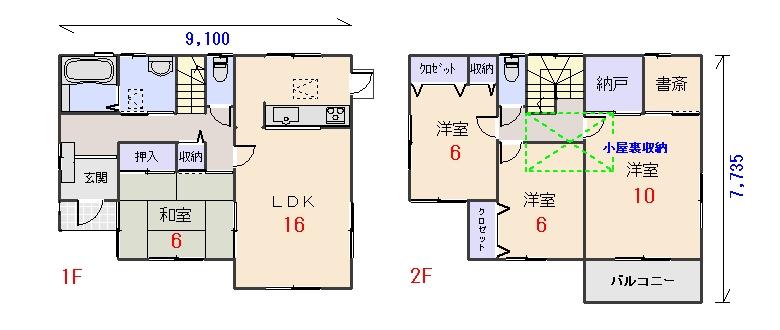 南西玄関34.06坪bの間取りプランのページへ