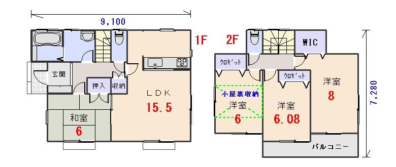 西玄関29.80坪aの間取りプランのページへ