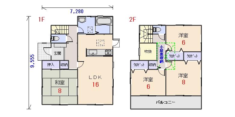 西玄関32.06坪aの間取りプランです