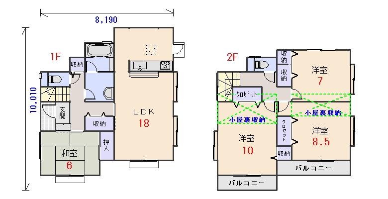 西玄関35.19坪aの間取りプランです
