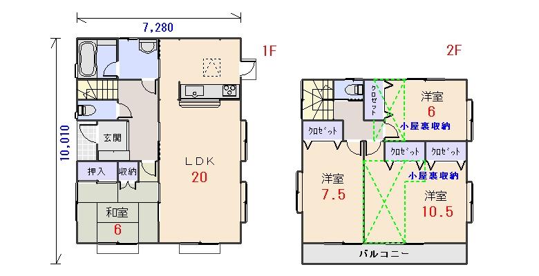 西玄関35.56坪bの間取りプランです