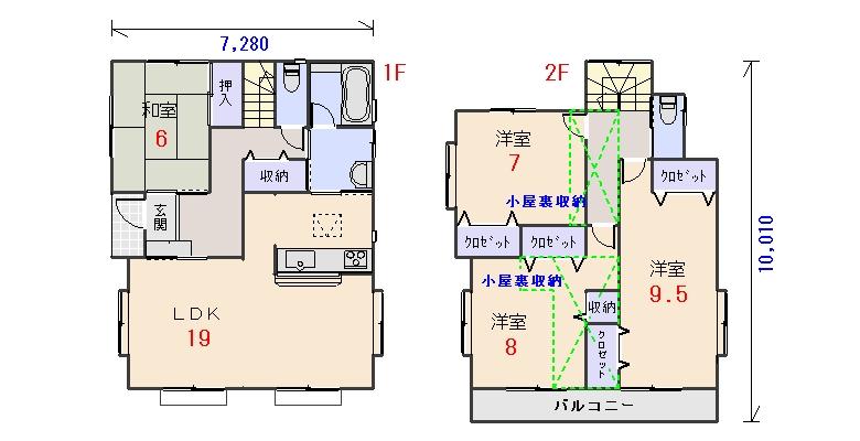 西玄関36.07坪aの間取りプランのページへ